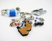 Knitter's Chatelaine: Michigan - Stitch Markers, Row Counter & Folding Scissors on a Decorative Clasp