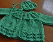 Knitted Baby Sweater and Bonnet Set-handmade