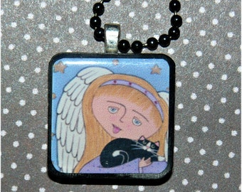 kitty angel  art pendant