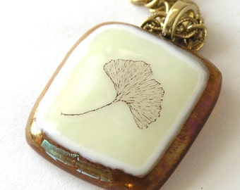 Ginko Leaf Fused Glass Pendant - Deep Amber Glass - Vintage Horticultural Graphics