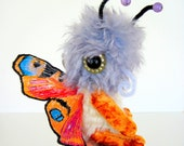 Plush Butterfly, Art toy , Soft art doll, 9 inches tall