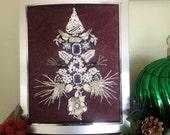 Silver Purple and Rose Rhinestone Vintage Jewelry Christmas Tree