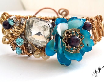Baby Blues ~Wire Wrapped cuff Bracelet
