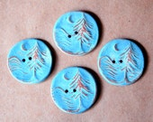 4 Handmade Ceramic Buttons - Moon over Cedar Buttons -  Rustic Sky Blue Buttons with Brown Stoneware