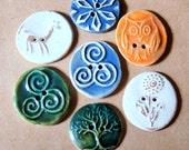 7 Handmade Ceramic Buttons - Sweet Orphan Sale :)