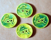 4 Handmade Ceramic Buttons -  Leaping Hare Buttons - Sweet Rabbit Buttons in Bright Spring Green