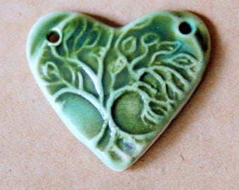 Sweet Ceramic Tree of Life in a  Heart Pendant Bead