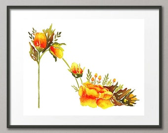 Fine Art Print Orange Roses Flower Shoes Stiletto Fashion Colorful Watercolor Painting Elena