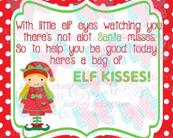 Elf Kisses. Elf. Candy Tag. Kisses. Girl Elf. Christmas. Christmas.Tag. Square Tag. Instant Download. PDF file.