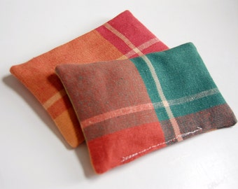 Madis Plaid Organic Lavender Sachets / fragrance sachets / drawer sachets / laundry dryer sachets / bright orange / natural aromatherapy