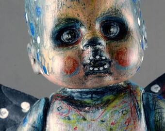 Laurie Geller Handmade Winged Stars Moon Dots Re-Purposed Ooak Art Doll...MOONCHILD