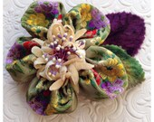 Hair flower barrette made with vintage ribbon and velvet millinery, in greens and purples