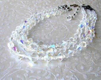 Chunky 3 Strand Crystal Beaded Necklace 1950s Vintage Costume Jewelry Wedding Bridal Formal Prom Pageant Ballroom Accessory Triple Multi 50s