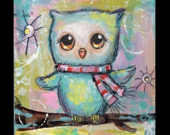 Owl painting ,Original painting, children's Nursery art, Woodland animal, bird art, 6x6