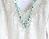 Mint Green Beaded Necklace, Faceted Glass Pendant, Strand Necklace, Statement Necklace, Beaded Necklace, Brass, Long Necklace