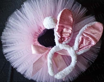 Easter Bunny Tutu Set, Light Pink Sewn Tutu with White Bunny Ears & Tail - READY TO SHIP