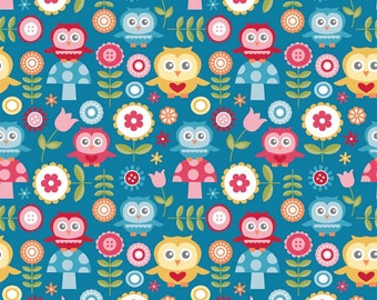 Riley Blake Fabrics, Fine and Dandy, Dandy Owls on Blue, yard