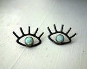 Eye Studs- Sterling Silver and Opal Studs