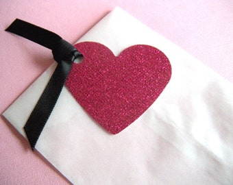 25 Glassine Favor Bags with Hot Pink Glitter Heart Tags and Black Ribbon - Perfect for Bridal Shower, Birthday Favors, Valentine's Day