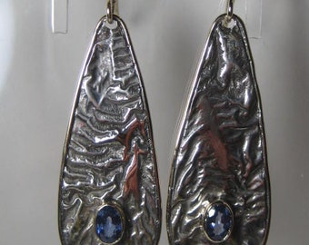 Beautiful Blue Sapphire Earrings ...Riticulated Sterling Silver and 14kt Gold ...