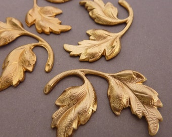 4 Brass Leaf Branch - Two Matching Pairs