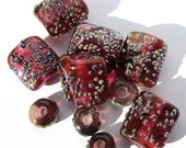 Handmade Lampwork Glass Bead Set transparent cranberry silver glass frit