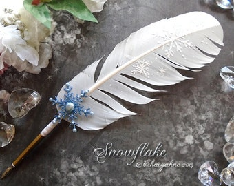 SNOWFLAKE Winter Snowfall Feather Quill Pen