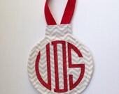Grey Chevron Ornament with Red Glitter Circle Monogram