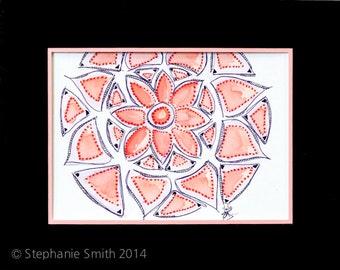 Original Expressive Energetic Mandala Matted Drawing: Willow Weeping