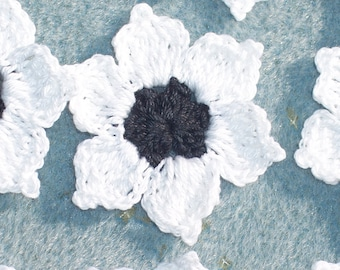 12 handmade black and white crochet applique flowers  --  609