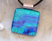 Dichroic Pendant, Necklace, Glass Jewelry, Fused Glass, Blue, Teal, Necklace Included, A2