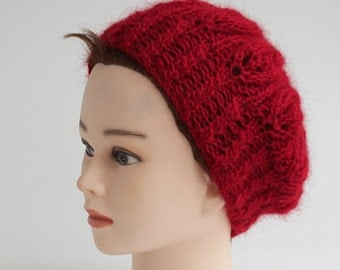 SALE-Burgundy knitted hat with leaves, handmade women hat