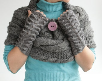Free shipping, gift for her, Grey Fingerless Gloves---handmade-ready to ship