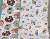 MADE TO ORDER Organic Fort Firefly Rustic Modern Baby Crib Quilt Girl Blanket with Butterflies, Raccoons, and Whimsical Wood Creatures