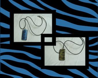 Reversible Hand Painted, Bamboo Tile, Zebra Print Pendant