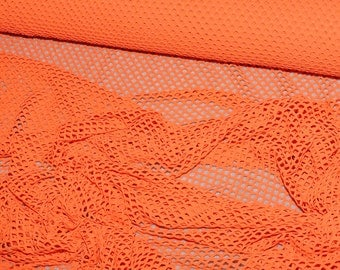 """Orange  Poly Nylon Big Hole Stretch  Mesh Fabric sold by the yard  58"""" wide  clothing, bags, home decor"""