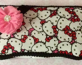 Hello Kitty Red Pink Travel Wipe Case for baby shower GIFT rhinestone FLOWER