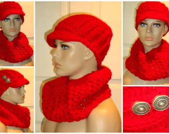 Red Cap / Hat and Neckwarmer / Cowl / Infinity V-Stitch Set - Custom Colors