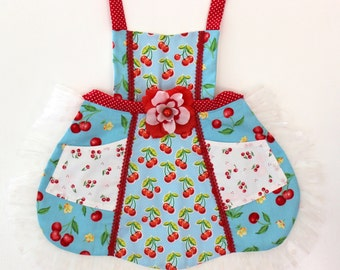 Blue Red Cherry  Apron