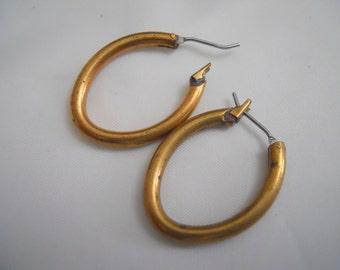 Vintage Brass Hoop Earrings