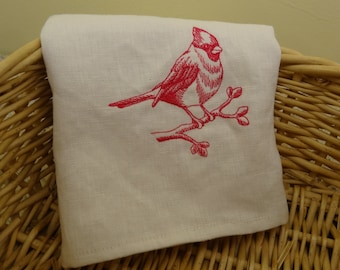 White Linen Dish Towel with Cardinal Embroidery,  100% Linen Dish Towel, Home & Living, Dishcloths  Kitchen Towels, Bird, Kitchen and Dining