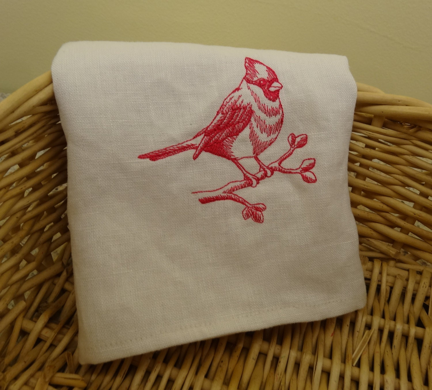 White Kitchen Towel: White Linen Dish Towel With Cardinal Embroidery 100% Linen