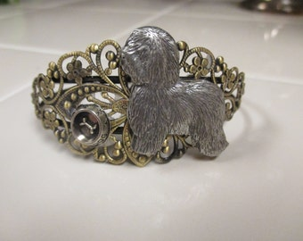 Lovely Antiqued Brass Filigree Figural Old English Sheepdog Bracelet with Engraved Bowl-limited edition