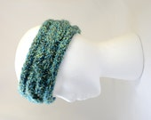 braided hand knitted dark green soft and warm headband