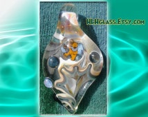GLOW in the Dark GRATEFUL DEAD Art Lampwork Focal Pendant Dancing Bear Murrine Blown Glass Art Bead Glowing Furthur Christmas Deadhead Love