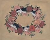 Cat and Bird Garland - Print