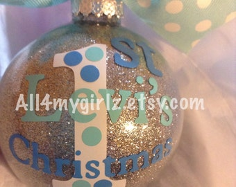 Baby's First Christmas Ornament Glass Glitter Ball with Ribbon Bow Personalized Dated 2016