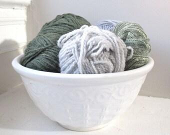 Vintage Stoneware Bowl - White - Basketweave