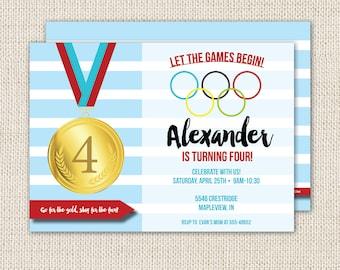 Olympics birthday party invitation, olympics party, sports birthday party, gold medal party, let the games begin, printable invitation
