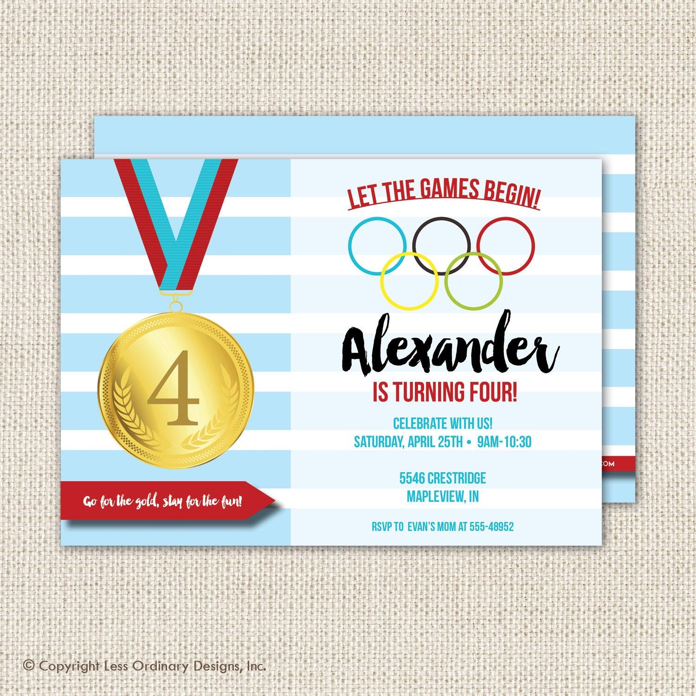 Olympics birthday party invitation olympics party sports